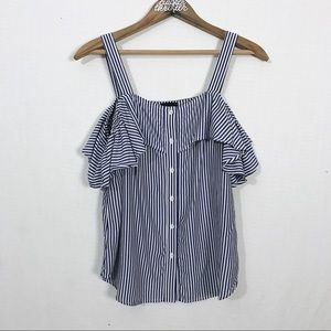 ✨3/20$ Cold Shoulder Pinstripe Tank Top